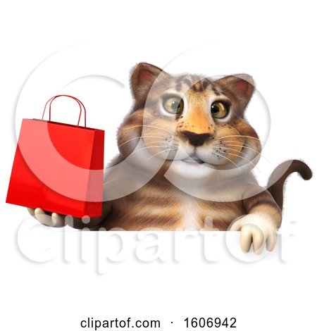 Clipart of a 3d Tabby Kitty Cat Holding a Shopping Bag, on a White Background - Royalty Free Illustration by Julos