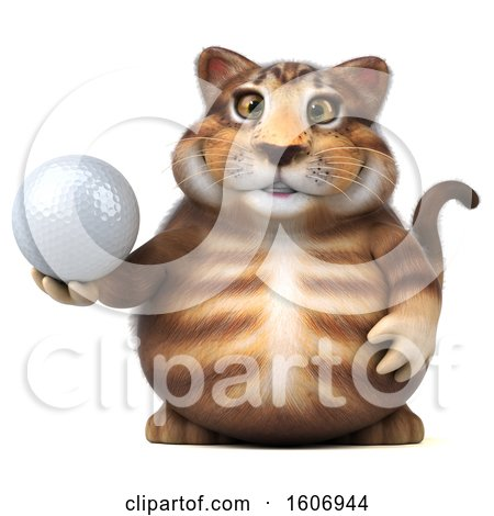Clipart of a 3d Tabby Kitty Cat Holding a Golf Ball, on a White Background - Royalty Free Illustration by Julos