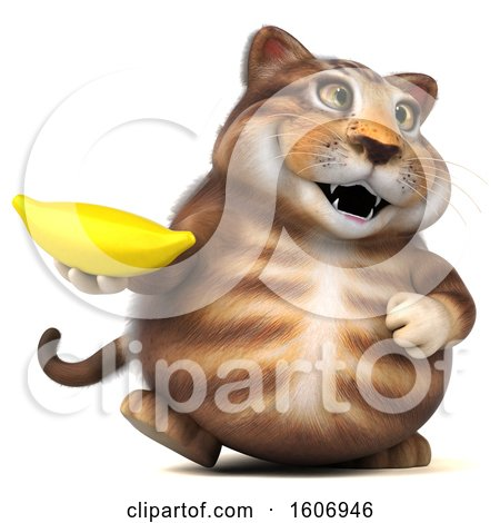 Clipart of a 3d Tabby Kitty Cat Holding a Banana, on a White Background - Royalty Free Illustration by Julos