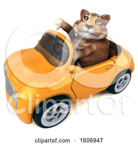 Clipart of a 3d Tabby Kitty Cat Driving a Convertible Car, on a White Background - Royalty Free Illustration by Julos