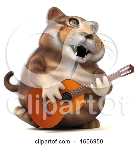 Clipart of a 3d Tabby Kitty Cat Holding a Guitar, on a White Background - Royalty Free Illustration by Julos