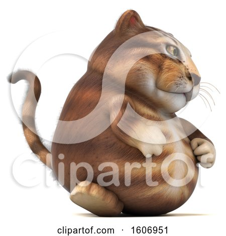 Clipart of a 3d Tabby Kitty Cat Walking, on a White Background - Royalty Free Illustration by Julos