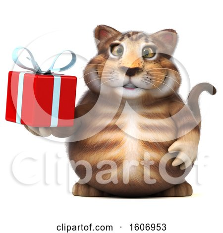 Clipart of a 3d Tabby Kitty Cat Holding a Gift, on a White Background - Royalty Free Illustration by Julos