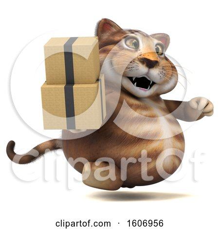 Clipart of a 3d Tabby Kitty Cat Holding Boxes, on a White Background - Royalty Free Illustration by Julos