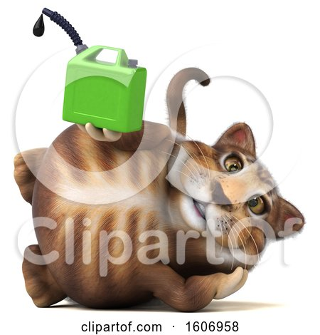 Clipart of a 3d Tabby Kitty Cat Holding a Gas Can, on a White Background - Royalty Free Illustration by Julos