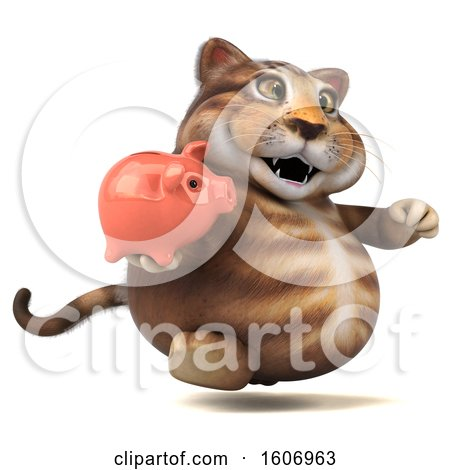 Clipart of a 3d Tabby Kitty Cat Holding a Piggy Bank, on a White Background - Royalty Free Illustration by Julos
