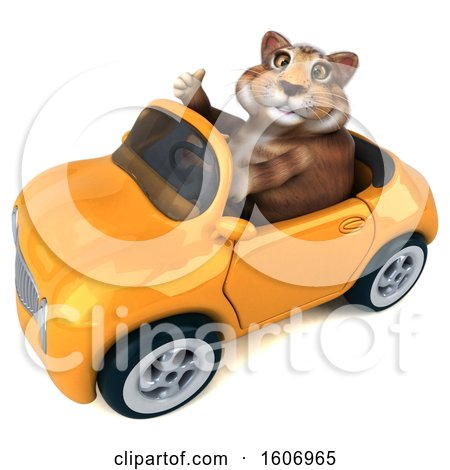 Clipart of a 3d Tabby Kitty Cat Driving a Convertible, on a White Background - Royalty Free Illustration by Julos