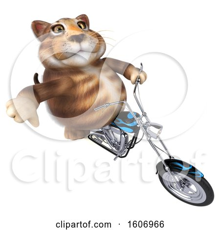 Clipart of a 3d Tabby Kitty Cat Biker Riding a Chopper Motorcycle, on a White Background - Royalty Free Illustration by Julos