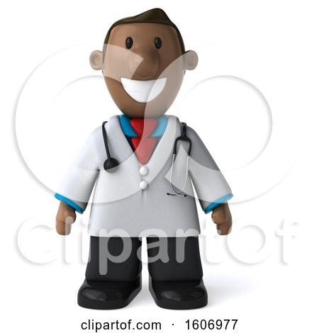 Clipart of a 3d Short Black Male Doctor, on a White Background - Royalty Free Illustration by Julos