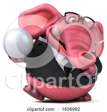 Clipart of a 3d Pink Business Elephant Holding a Golf Ball, on a White Background - Royalty Free Illustration by Julos