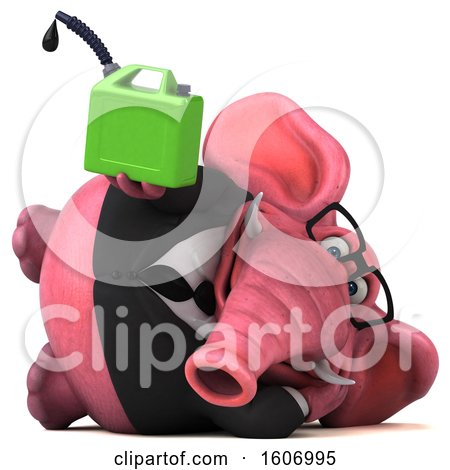 Clipart of a 3d Pink Business Elephant Holding a Gas Can, on a White Background - Royalty Free Illustration by Julos