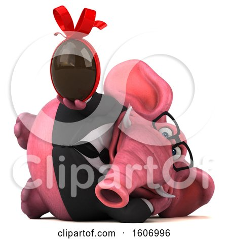 Clipart of a 3d Pink Business Elephant Holding a Chocolate Egg, on a White Background - Royalty Free Illustration by Julos