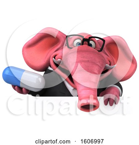Clipart of a 3d Pink Business Elephant Holding a Pill, on a White Background - Royalty Free Illustration by Julos