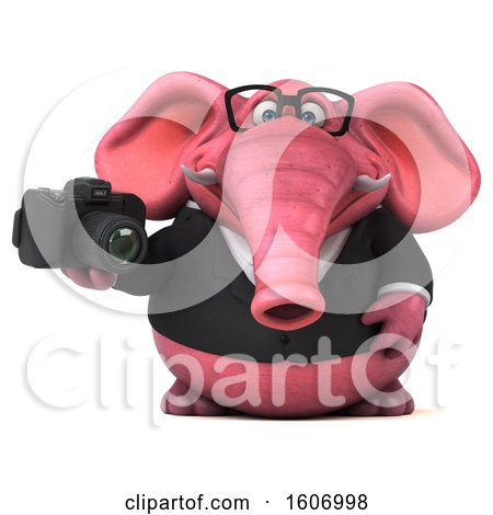 Clipart of a 3d Pink Business Elephant Holding a Camera, on a White Background - Royalty Free Illustration by Julos