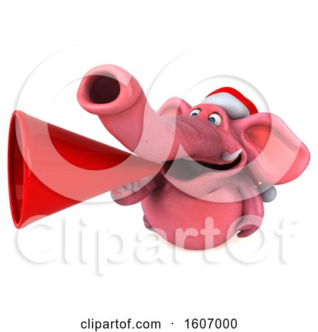 Clipart of a 3d Pink Christmas Elephant Using a Megaphone, on a White Background - Royalty Free Illustration by Julos