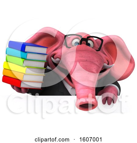 Clipart of a 3d Pink Business Elephant Holding Books, on a White Background - Royalty Free Illustration by Julos