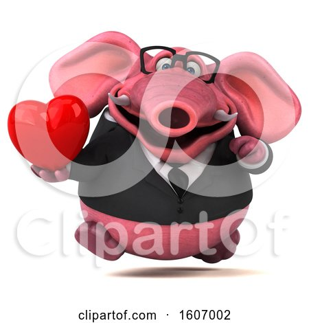 Clipart of a 3d Pink Business Elephant Holding a Heart, on a White Background - Royalty Free Illustration by Julos