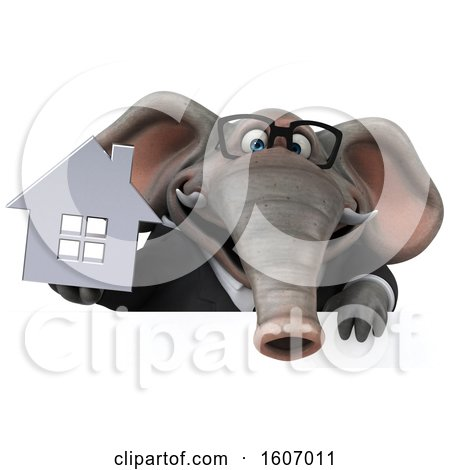 Clipart of a 3d Business Elephant Holding a House, on a White Background - Royalty Free Illustration by Julos