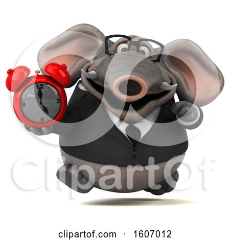 Clipart of a 3d Business Elephant Holding an Alarm Clock, on a White Background - Royalty Free Illustration by Julos
