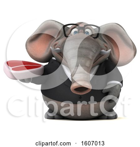 Clipart of a 3d Business Elephant Holding a Steak, on a White Background - Royalty Free Illustration by Julos