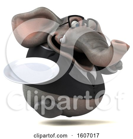 Clipart of a 3d Business Elephant Holding a Plate, on a White Background - Royalty Free Illustration by Julos