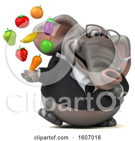 Clipart of a 3d Business Elephant Holding Produce, on a White Background - Royalty Free Illustration by Julos