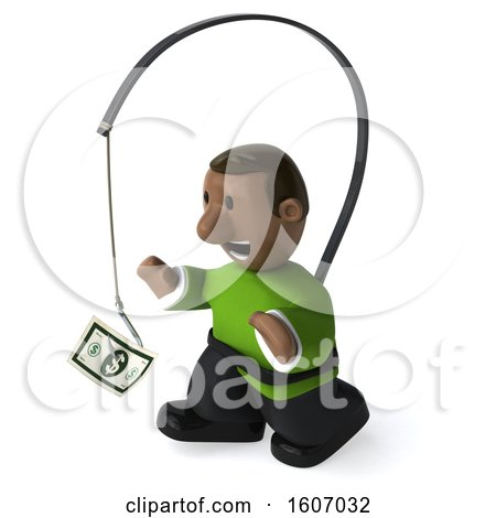 Clipart of a 3d Casual Black Man Chasing Money, on a White Background - Royalty Free Illustration by Julos