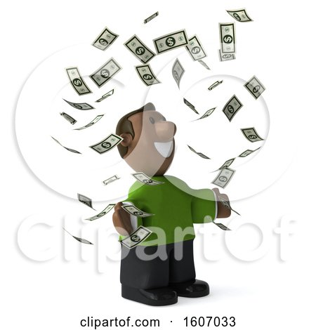 Clipart of a 3d Casual Black Man Holding a , on a White Background - Royalty Free Illustration by Julos