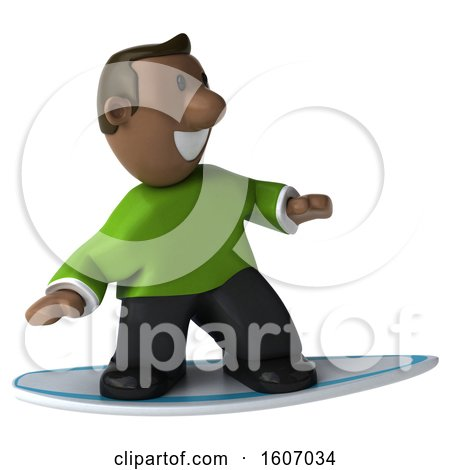 Clipart of a 3d Casual Black Man Surfing, on a White Background - Royalty Free Illustration by Julos