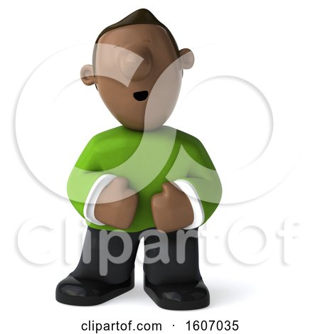 Clipart of a 3d Casual Black Man with Stomach Pain, Laughing or Sneezing, on a White Background - Royalty Free Illustration by Julos