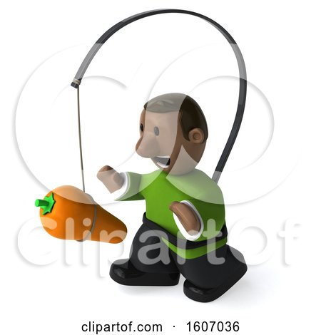 Clipart of a 3d Casual Black Man Chasing a Carrot, on a White Background - Royalty Free Illustration by Julos