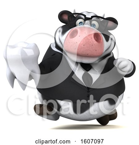 Clipart of a 3d Business Holstein Cow Holding a Tooth, on a White Background - Royalty Free Illustration by Julos