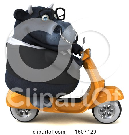 Clipart of a 3d Black Business Bull Riding a Scooter, on a White Background - Royalty Free Illustration by Julos