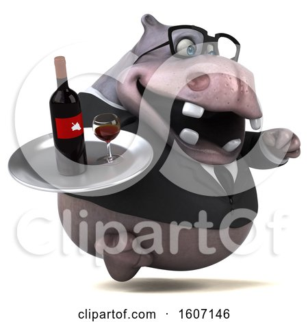 Clipart of a 3d Business Hippo Holding Wine, on a White Background - Royalty Free Illustration by Julos