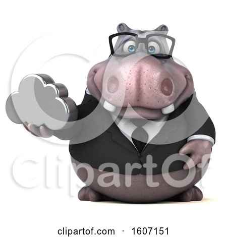 Clipart of a 3d Business Hippo Holding a Cloud, on a White Background - Royalty Free Illustration by Julos