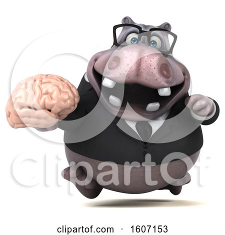 Clipart of a 3d Business Hippo Holding a Brain, on a White Background - Royalty Free Illustration by Julos