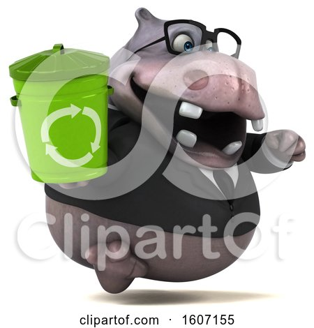 Clipart of a 3d Business Hippo Holding a Recycle Bin, on a White Background - Royalty Free Illustration by Julos