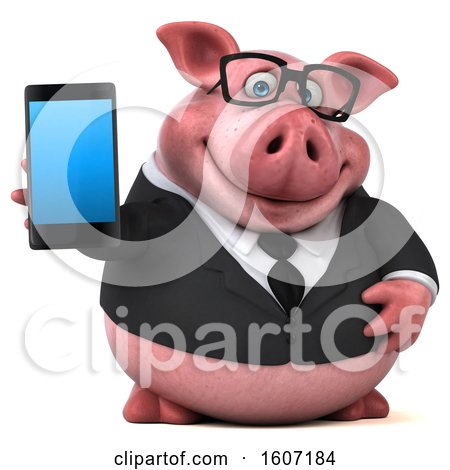 Clipart of a 3d Chubby Business Pig Holding a Smart Phone, on a White Background - Royalty Free Illustration by Julos
