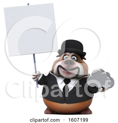 Clipart of a 3d Gentleman or Business Bulldog Holding a Cloud, on a White Background - Royalty Free Illustration by Julos