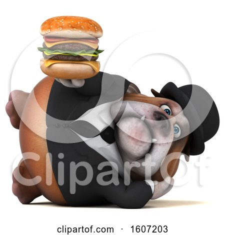 Clipart of a 3d Gentleman or Business Bulldog Holding a Burger, on a White Background - Royalty Free Illustration by Julos