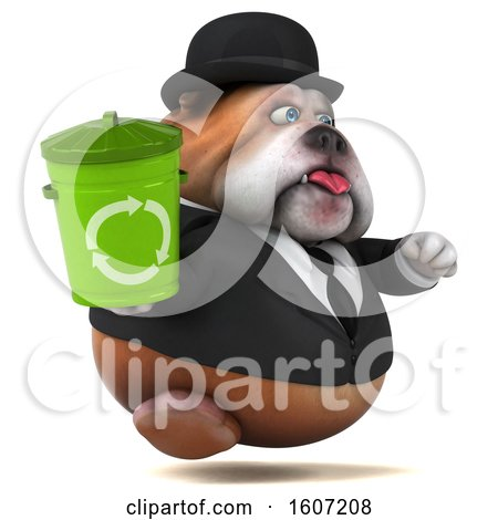 Clipart of a 3d Gentleman or Business Bulldog Holding a Recycle Bin, on a White Background - Royalty Free Illustration by Julos