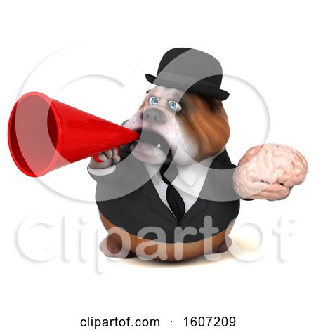 Clipart of a 3d Gentleman or Business Bulldog Holding a Brain, on a White Background - Royalty Free Illustration by Julos