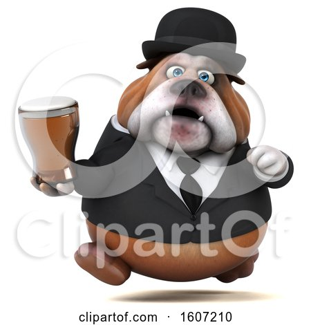 Clipart of a 3d Gentleman or Business Bulldog Holding a Beer, on a White Background - Royalty Free Illustration by Julos