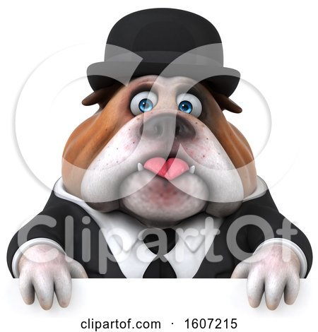Clipart of a 3d Gentleman or Business Bulldog over a Sign, on a White Background - Royalty Free Illustration by Julos