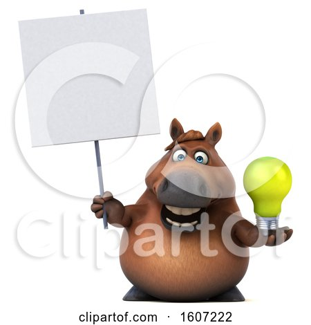 Clipart of a 3d Chubby Brown Horse Holding a Light Bulb, on a White Background - Royalty Free Illustration by Julos