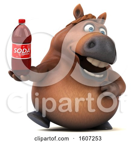 Clipart of a 3d Chubby Brown Horse Holding a Soda, on a White Background - Royalty Free Illustration by Julos