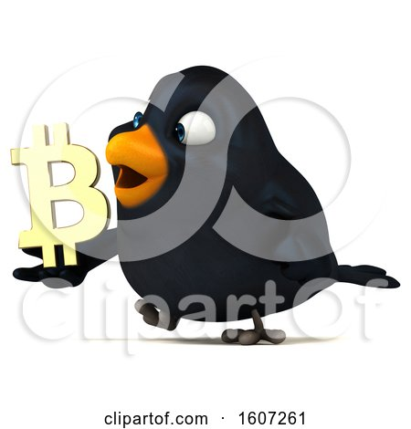 Clipart of a 3d Black Bird Holding a Bitcoin Symbol, on a White Background - Royalty Free Illustration by Julos