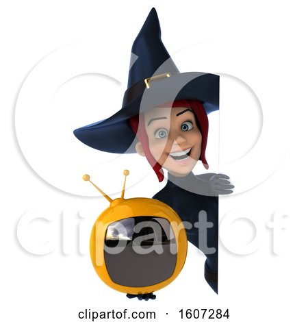 Clipart of a 3d Blue Green Witch Holding a Tv, on a White Background - Royalty Free Illustration by Julos