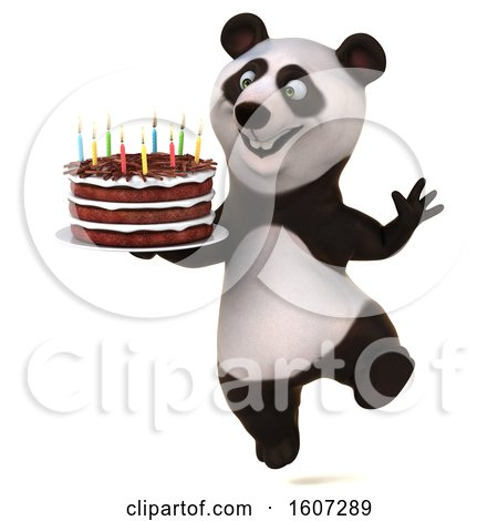 Clipart of a 3d Panda Holding a Birthday Cake, on a White Background - Royalty Free Illustration by Julos
