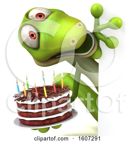 Clipart of a 3d Green Gecko Holding a Birthday Cake, on a White Background - Royalty Free Illustration by Julos